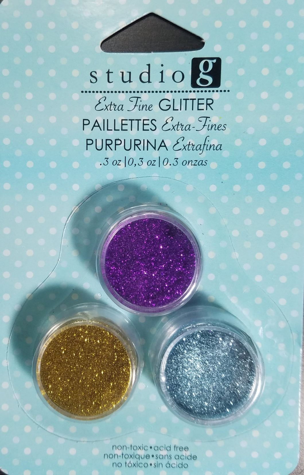 Studio G Glitter Extra Fine 3 pack Purple, Gold and Light Blue