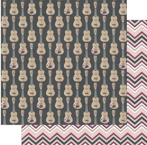 "Photo Play Gypsy Rose Collection Paper 12""x 12"" Be Helpful- Double sided cardstock, one side is black with rows of acoustic guitars. Some have printed flowers on them. The reverse side has a chevron pattern in burgundy, pink, white and charcoal."