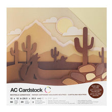 Load image into Gallery viewer, American Crafts Variety Cardstock Pack 12X12 60 Pkg - Neutrals