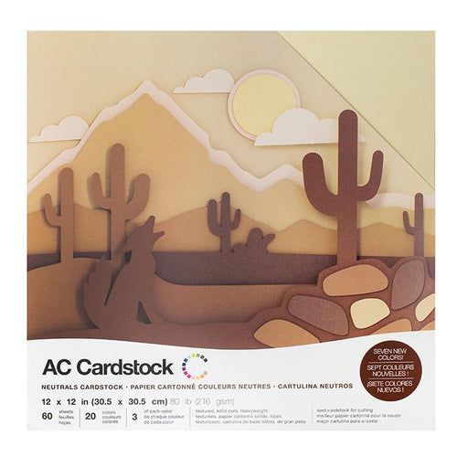 American Crafts Variety Cardstock Pack 12X12 60 Pkg - Neutrals