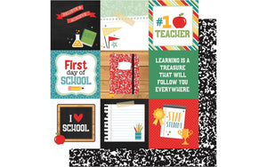 "Echo Park Collection Back To School Paper 12x12"" Journal Cards 4x4"""