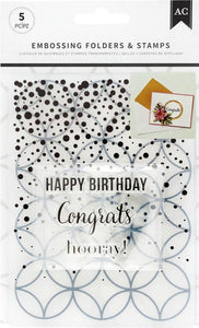 American Crafts Embossing Folder & Stamp Set Hooray