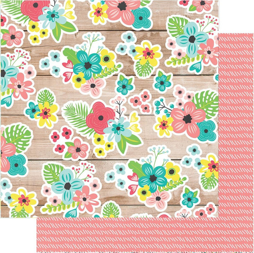 Simple Stories Hello Summer Paradise Found 12x12 Pattern Cardstock