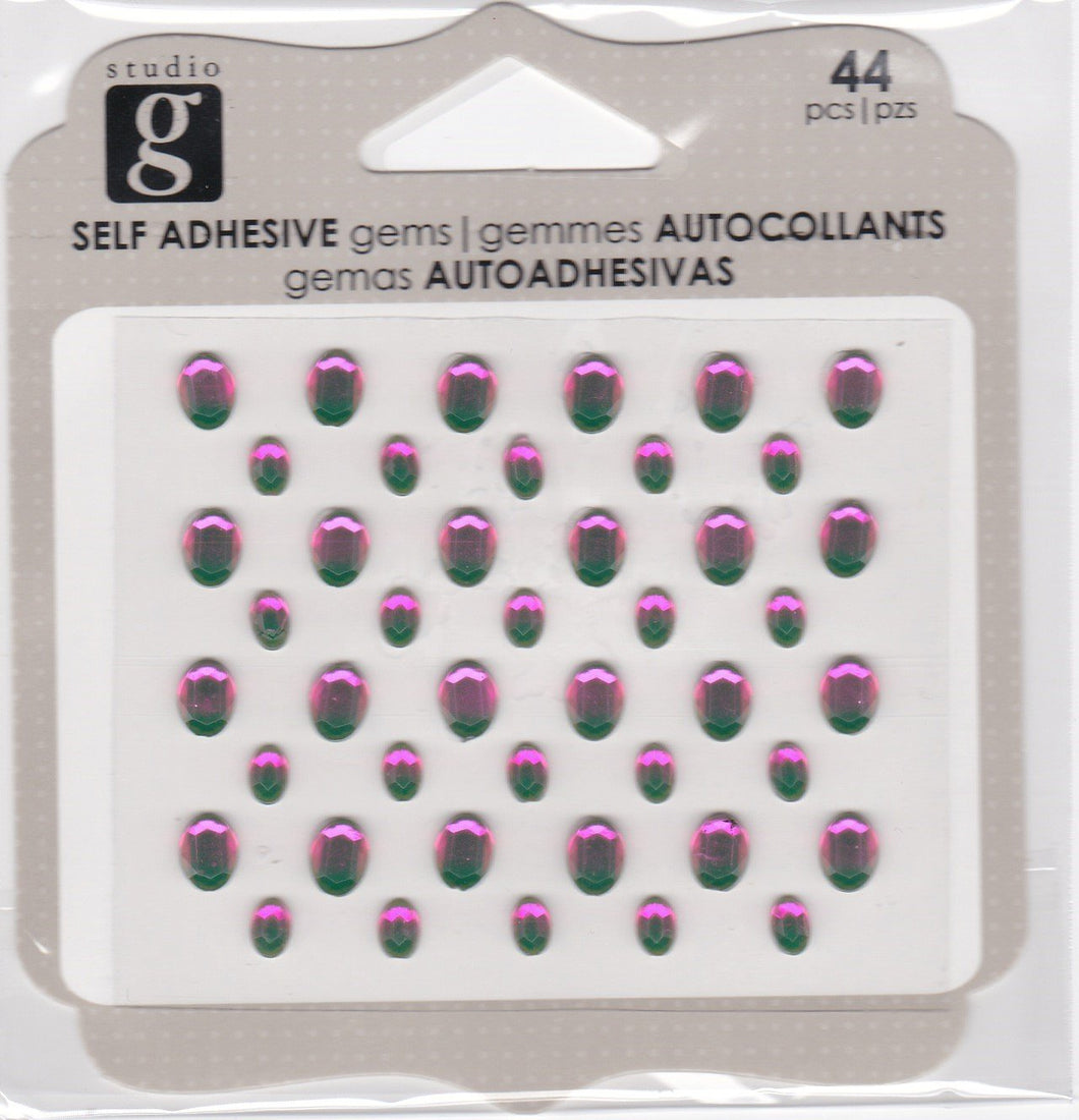 Studio G Adhesive Oval Gems Hot Pink