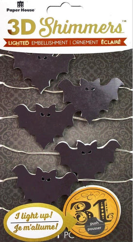Paper House Sticker 3D LED Shimmer Bat Garland