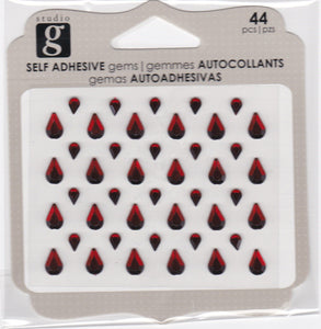 Studio G Studio G Adhesive Tear Drops Gems Red