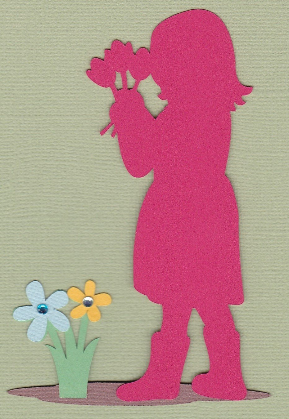 Premade Paper Piecing Cricut Spring Silhouette Girl