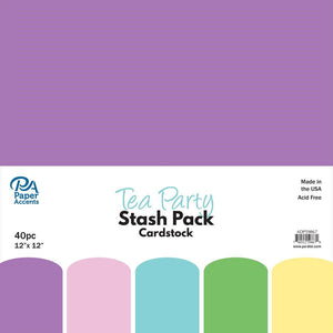 Paper Accents Stash Pack Cardstock 12x12 Tea Party 40pc
