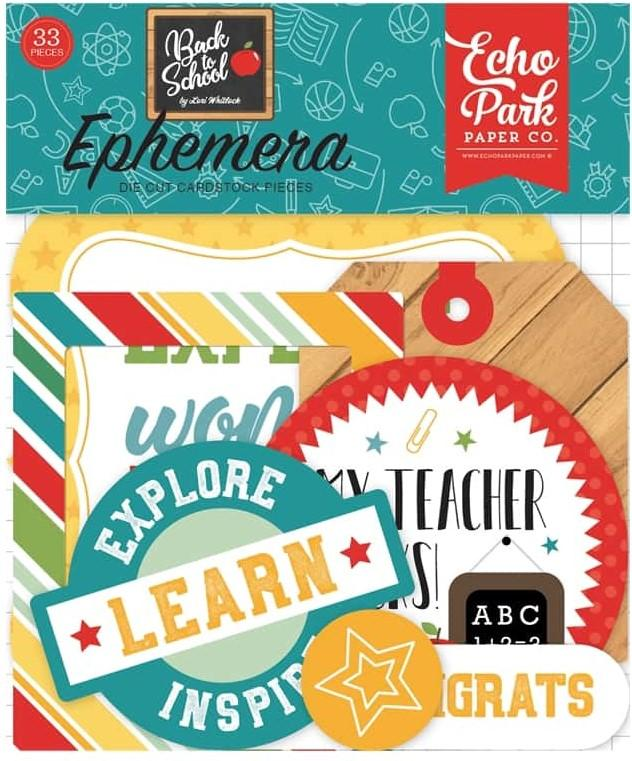 Echo Park Back to school Ephemera Die Cuts Set of 33 Pieces