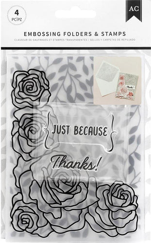 American Crafts Embossing Folder & Stamp Set Just Because