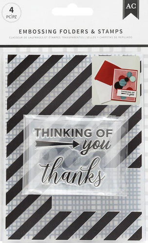 American Crafts Embossing Folder & Stamp Set Thankful Thinking