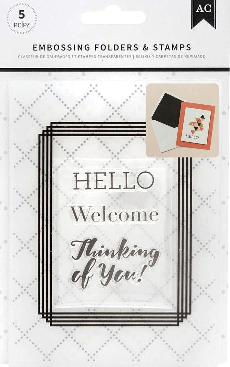American Crafts Embossing Folder & Stamp Set Welcome