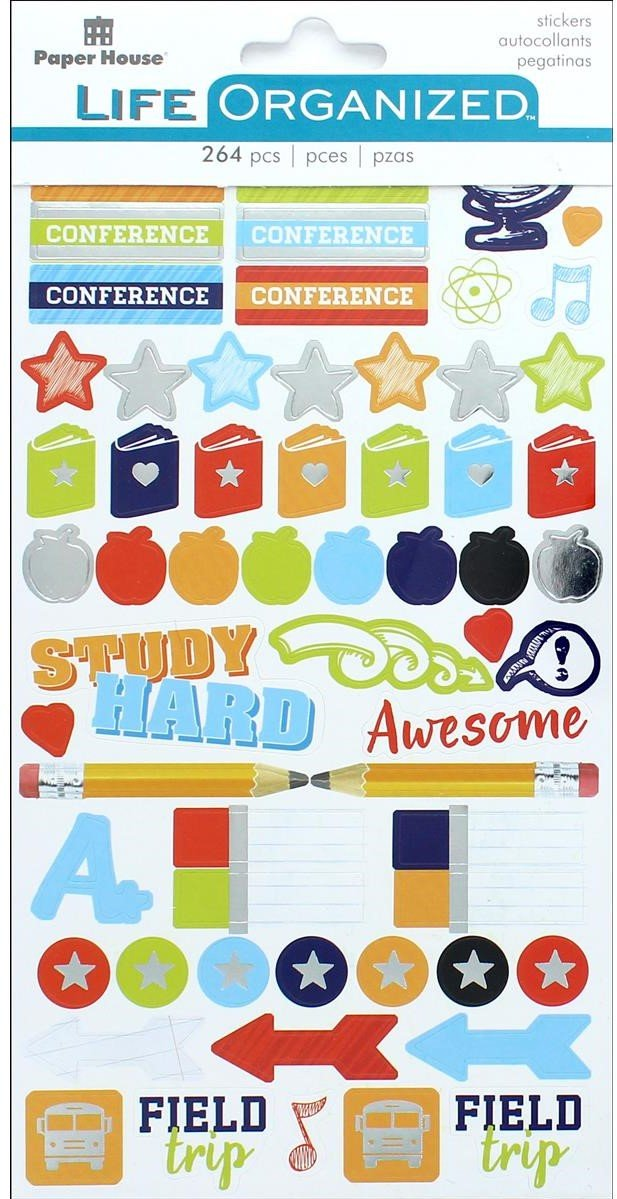 Paper House Collection Life Organized Sticker School- 264 stickers that include labels, tags, arrows, colorful solid dots, stars, apples, pencils, captions Study Hard, Get It Done, After School, and more. Largest measures approximately 2.25