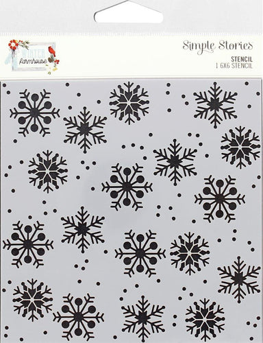 Simple Stories Collection Winter Farmhouse Stencil 6x6