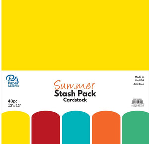 "Paper Accents Stash Pack Cardstock, build up your stash with quality paper. Acid free and lignin free. 12""x 12"" Summer 40pc- Eight sheets each of yellow, red, turquoise, orange and green."
