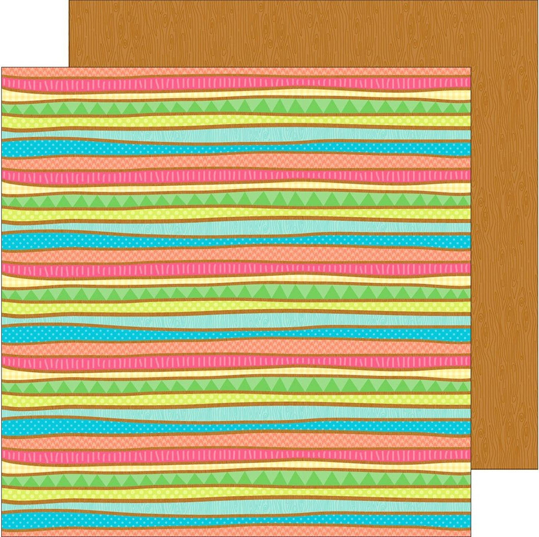 Doodlebug Fun in the Sun Surf Stripe 12x12 Pattern Cardstock
