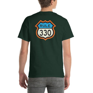 RV Lifestyle on the Front/330 Rule on the Back! Men/Women Short-Sleeve T-Shirt - White, Forest, Olive, Black, Navy, Blue Dusk, Sand, Ash