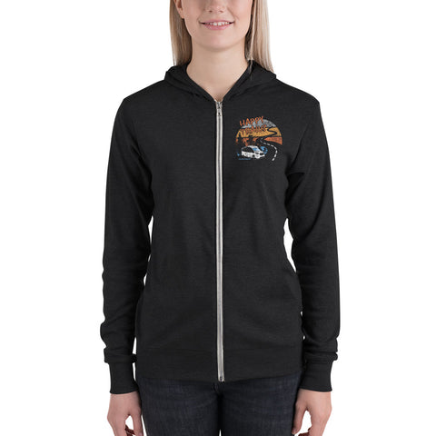 Happy Trails LIGHTWEIGHT Zip Up Hoodie - Charcoal Black, Solid Black, Grey