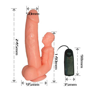 BaileSkin's Huge Vibrating Realistic Suction Cup Dildo - Dark Skin, Exclusive on www.masalatoys.com
