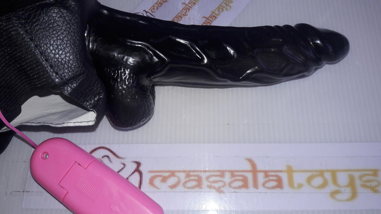 Original Black Realistic Strap-On Dildo With Vibrator only at www.masalatoys.com