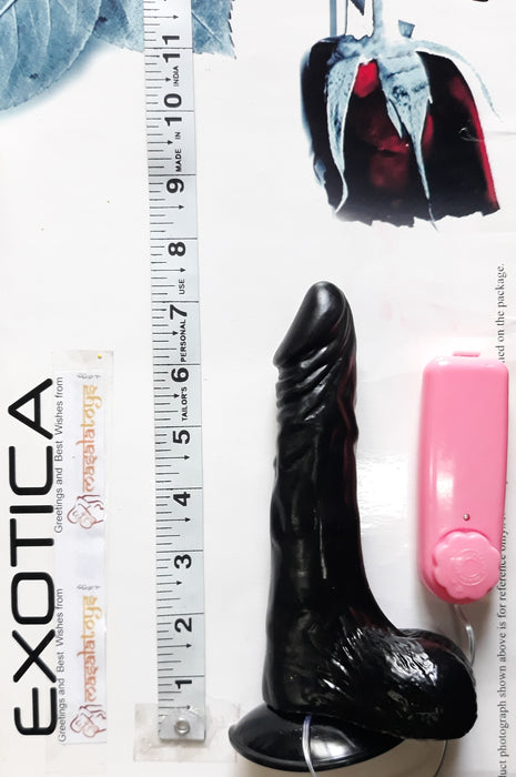 The Black Mamba - Stiff Black Cock Experience Dildo With Suction Cup, Vibrator and Shaft Rotation