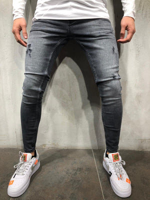 gray washed skinny fit jeans