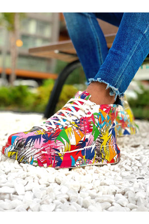 Multicolour Printed Mid Top Sneaker CH265