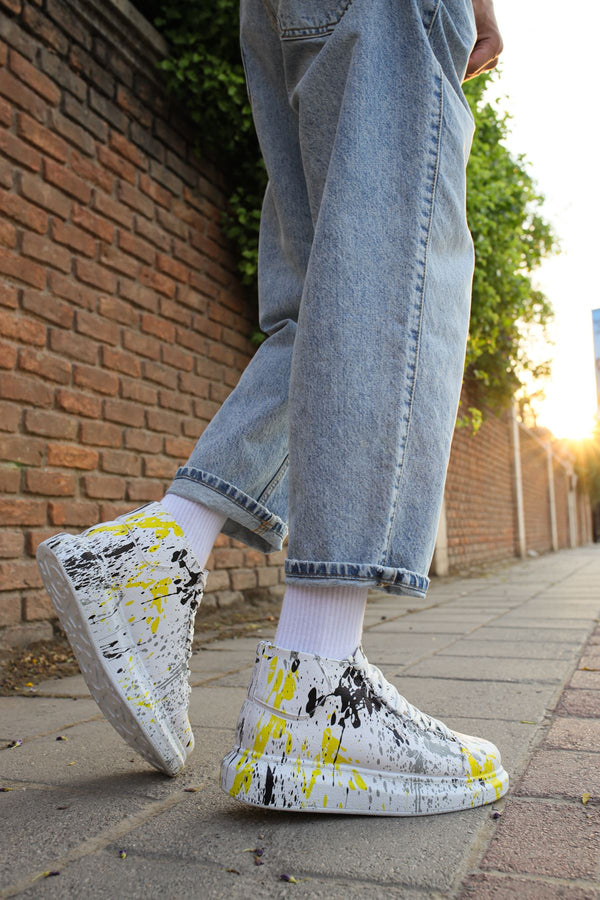 Black & Yellow Printed Mid Top Sneaker CH265