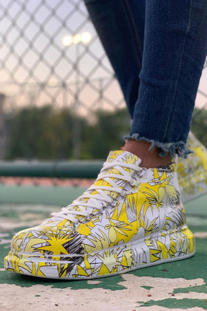 Yellow Printed Mid Top Sneaker CH265