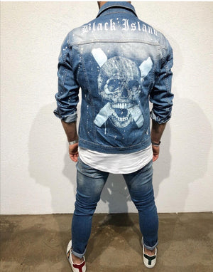 Blue Washed Printed Ripped Jeans Jacket B99 Streetwear Mens Jean Jacket - Sneakerjeans