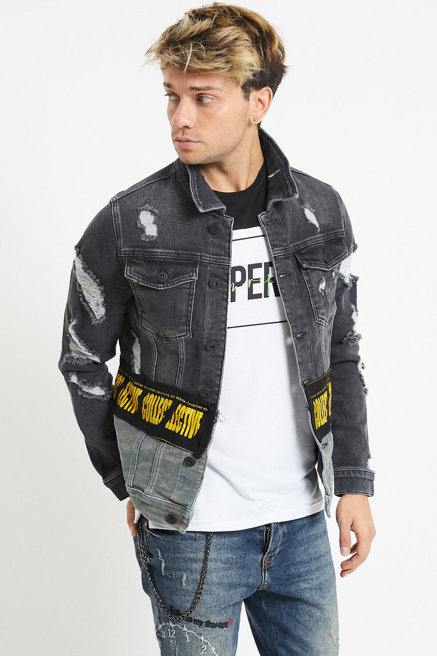 Sneakerjeans Gray Ripped Skinny Jeans Jacket DR4807