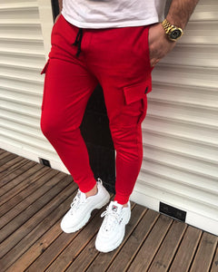Red Cargo Pocket Jogger Pant HB24 Streetwear Jogger Pants