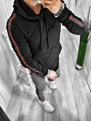 Black Pattern Side Striped Hoodie S119 Streetwear Hoodies - Sneakerjeans