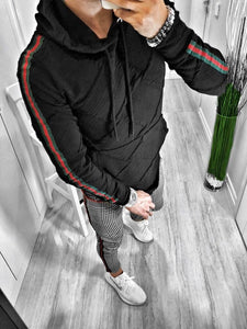 Black Pattern Side Striped Hoodie S119 Streetwear Hoodies