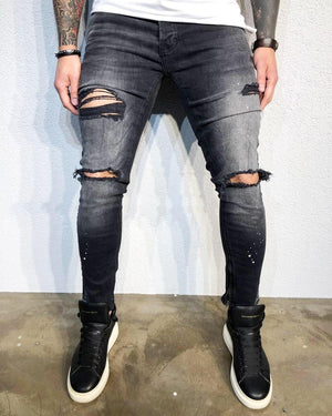 Sneakerjeans - Black Printed Distressed Skinny Jeans BL495 Denim - Sneakerjeans