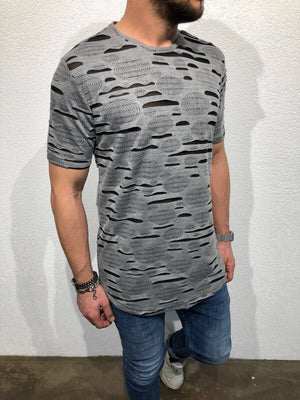 Gray Shredded Oversized T-Shirt B51 Streetwear T-Shirts - Sneakerjeans