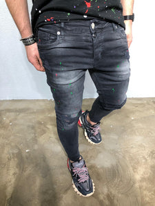 Black Color Stains Distressed Denim BL236 Streetwear Jeans