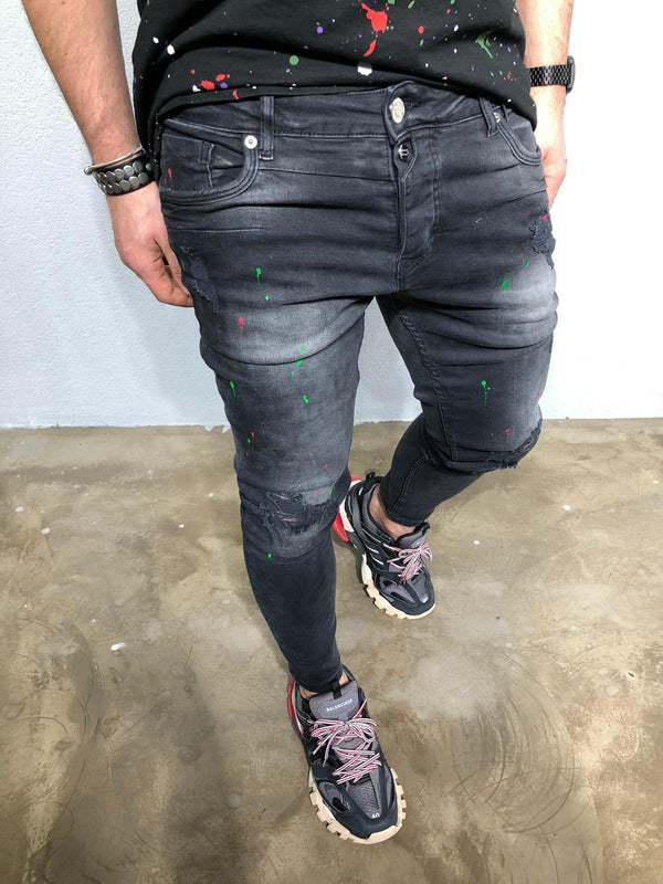 Black Color Stains Distressed Denim BL236 Streetwear Jeans - Sneakerjeans