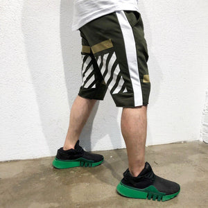 Khaki Gold Striped Sweat Short B185 Streetwear Sweat Shorts - Sneakerjeans