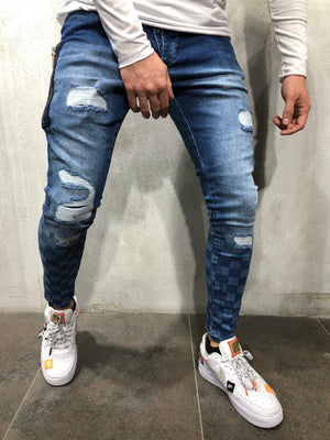 Blue Side Zip Checkered Skinny Fit Jeans A222 Streetwear Mens Jeans - Sneakerjeans