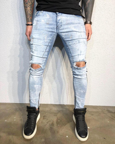 2be240fb Light Blue Ankle Zip Side Striped Distressed Ultra Skinny Fit Denim BL491 Streetwear  Jeans
