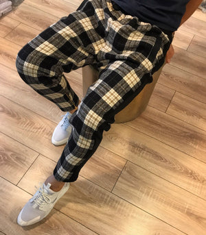Checker Brown Side Line Zipper Jogger Pants SNJ114 Streetwear Jogger Pants - Sneakerjeans