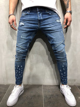 Load image into Gallery viewer, Blue Distressed Slim Fit Denim A90 Streetwear Denim Jeans