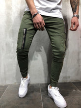 Load image into Gallery viewer, Khaki Cargo Style Slim Fit Denim A47 Streetwear Denim Jeans - Sneakerjeans