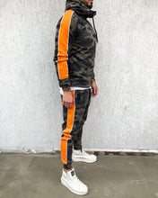 Load image into Gallery viewer, Khaki Camouflage Orange Striped Tracksuit Gymwear Set B288 Streetwear Tracksuit Jogger Set