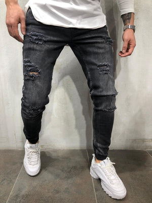 Black Washed Ripped Skinny Fit Denim A237 Streetwear Jeans - Sneakerjeans
