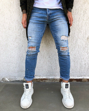 Sneakerjeans - Blue Washed Ripped Skinny Jeans B267 Mens Jeans - Sneakerjeans