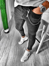 Load image into Gallery viewer, Black Washed Skinny Fit Denim S131 Streetwear Jeans