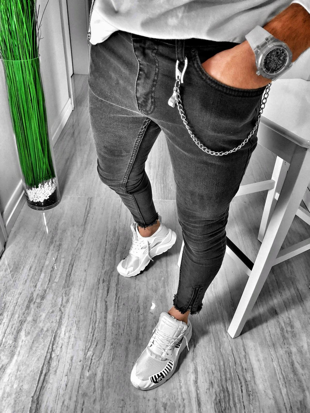 Black Washed Skinny Fit Denim S131 Streetwear Jeans - Sneakerjeans