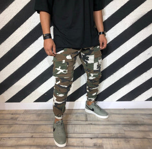 Mixed Colours Camouflage Cargo Jogger Denim R107 Streetwear Denim Jeans